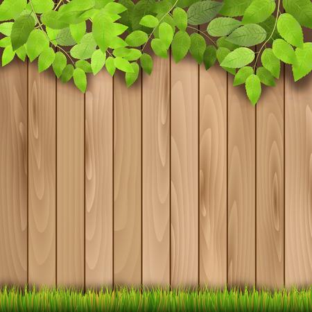 木製フェンス、草や木の枝 - ベクトル図
