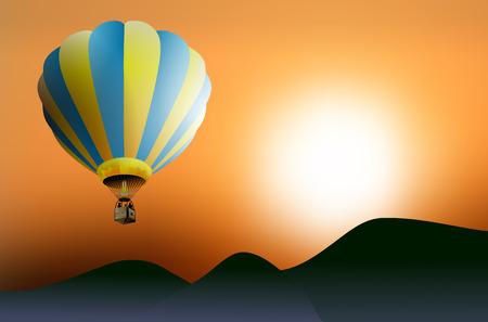 hot air ballon: Hot air balloon at sunset - vector illustration Illustration