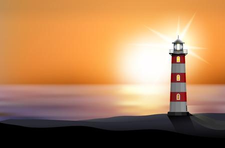 Vuurtoren op het strand bij zonsondergang - vector illustratie Stock Illustratie