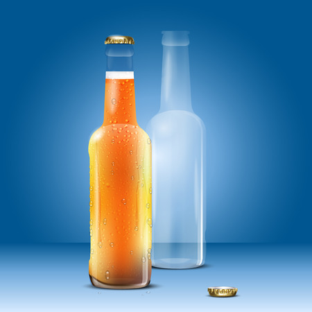 thirsty: Full and empty beer bottle on blue background - vector illustration