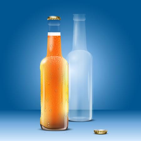 Volledige en lege bierfles op blauwe achtergrond - vector illustratie