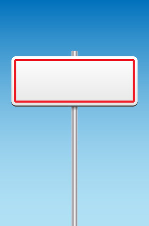 metal sign: Blank metal sign and blue sky - place for your message. Vector illustration. Illustration