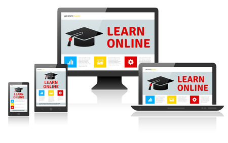 palmtop computer: Responsive web design on different devices - LEARN ONLINE. Vector illustration.