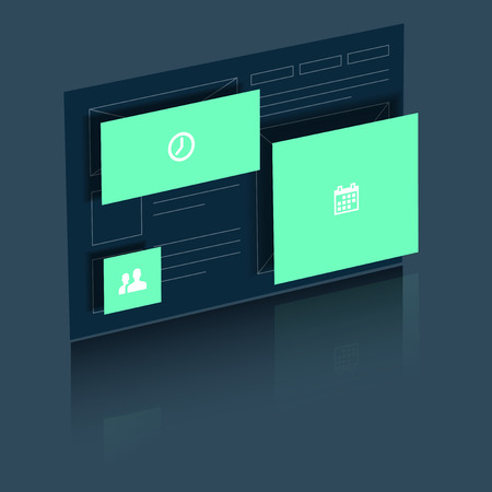 design design elemnt: Abstract website with flying windows and reflection in 3D view  Illustration