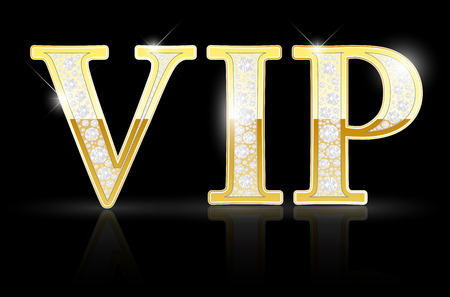 eminent: Shiny golden VIP sign with diamonds on black background - vector illustration Illustration