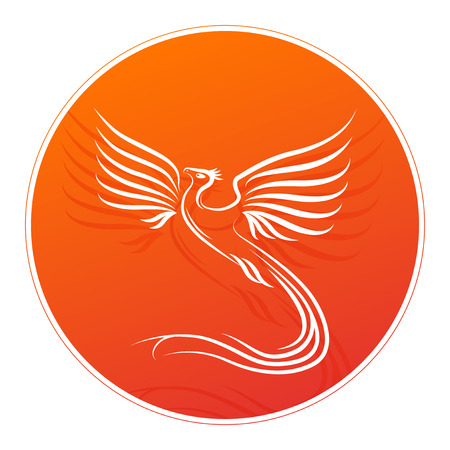 fenix: Badge with Phoenix bird silhouette and place for your text. Vector illustration.
