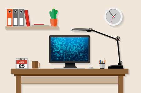 work station: Home or office working place with computer, lamp etc. - vector illustration