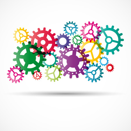 Abstract colorful gears with shadow - vector illustration