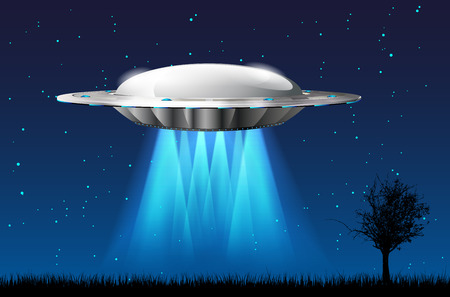 flying object: Unidentified flying object UFO with rays starry night sky and silhouettes of grass and tree Stock Photo