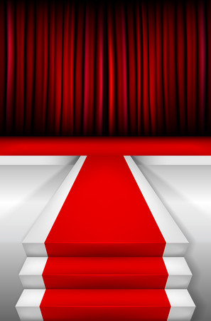 prestige: Red carpet on Stairways and podium with curtain vector illustration