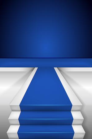 gala event: Blue carpet on Stairways and blank podium vector illustration Illustration