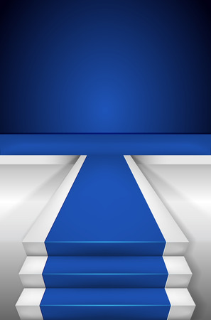 Blue carpet on Stairways and blank podium vector illustration Illustration