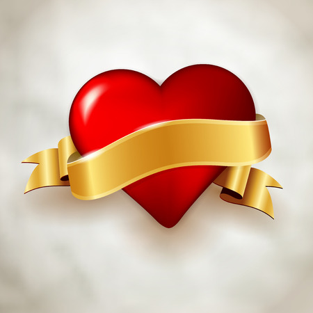 Glossy red heart and shiny golden ribbon on paper background. Vector illustration with place for your message. Vector