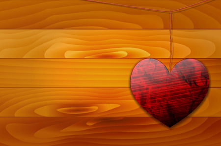 shiny heart: Shiny heart hanging on the rope and wooden background vector illustration with place for your text