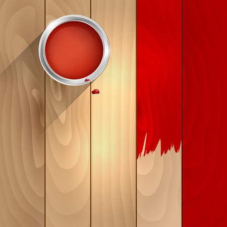 A can of red paint on a wooden background Vector