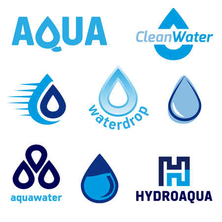 hydro: Set of graphic elements with the WATER theme