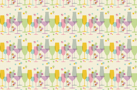 retro glasses: Seamless pattern from abstract glasses in retro colors vector illustration