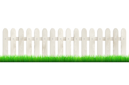 Fence from light wood and green grass isolated on white background. Vector illustration.