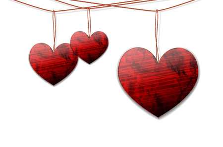 shiny hearts: Shiny hearts hanging on the rope on white background illustration with place for your text