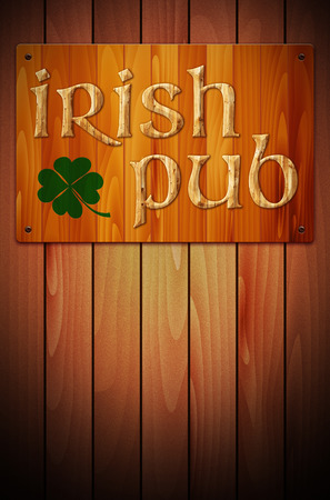 irish pub: Wooden sign IRISH PUB and green clover on wooden background - place for your text. Illustration.