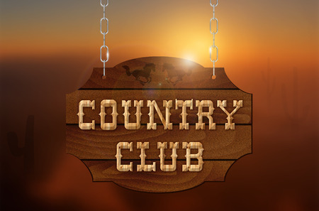 country music: Wooden inscription COUNTRY CLUB on wooden sign hanging on a chain and sunset background - illustration