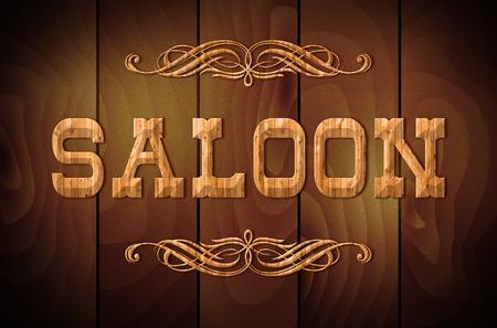 サルーンの木製看板や木製の背景に巻き飾り