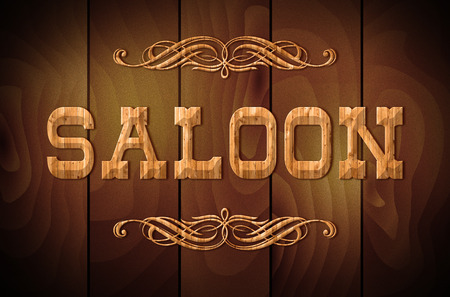 west country: Wooden sign SALOON and curly ornaments on a wooden background