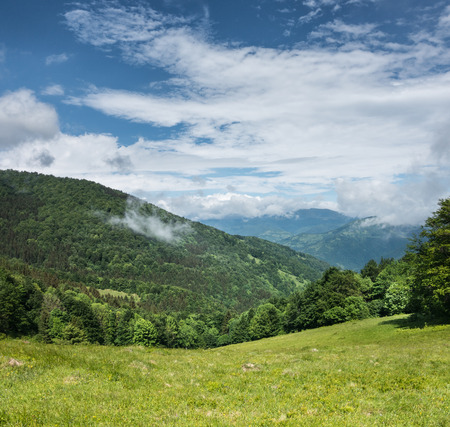 chine: Green mountains and blue sky with clouds Svydovets Range Carpathians Ukraine Stock Photo