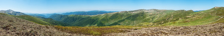 panoramic sky: Panoramic view of amazing spring mountains under blue sky Svydovets Range Carpathians West Ukraine