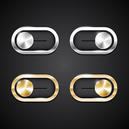 pairs: Two pairs ON-OFF switch web shiny metal buttons in different positions - vector illustration Illustration