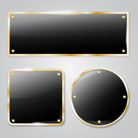 for text: Shiny dark glass frames with golden elements and transparent shadow - place for your text. Vector illustration.