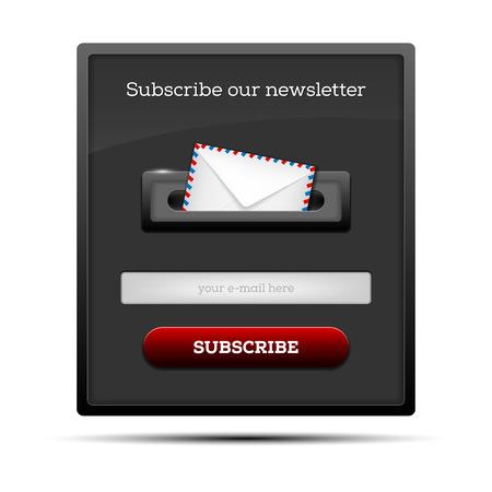 購読ニュースレター - ウェブサイトのフォーム。ベクトルの図。
