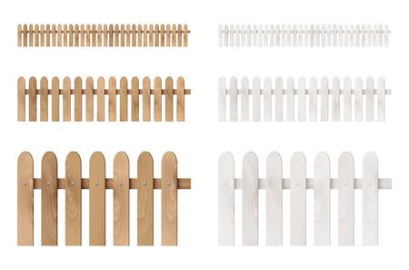 木製フェンスで白い背景で隔離のセットです。ベクトルの図。