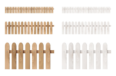 Set of wooden fences isolated on white background. Vector illustration. Vettoriali