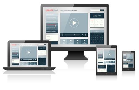 異なるデバイス - ベクトル図にレスポンシブ web デザイン  イラスト・ベクター素材