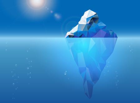 Ijsberg drijft op het zeeoppervlak, zon en luchtbellen - vector illustratie