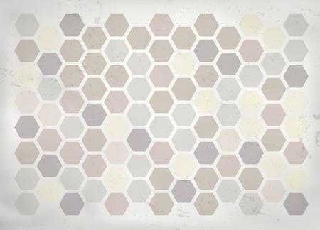 retro grunge: Retro grunge mosaic background with hexagons - vector illustration