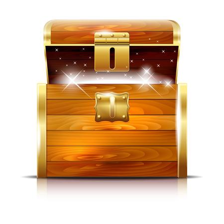 cofre del tesoro: Pecho de madera con el tesoro que brilla intensamente en el fondo blanco - ilustraci�n vectorial Vectores