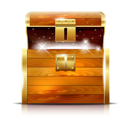 treasure trove: Wooden chest with glowing treasure on white background - vector illustration