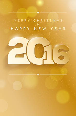 Golden greeting card with place for your text - Merry Christmas and Happy New Year 2016. Vector illustration.