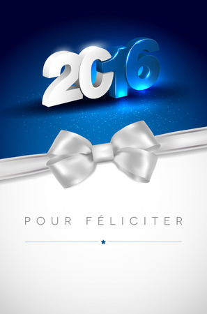 pour feliciter: Glowing 3D 2016 lettering on blue background and silver bow - greeting card for New Year 2016 with place for your text. Vector illustration.