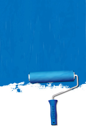 blue roller: Paint roller - painting the walls blue. Vector illustration.