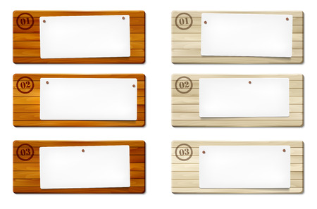message board: Set of wooden frames with paper board for your message - vector illustration Illustration