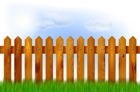 sky and grass: Wooden fence, grass and sky