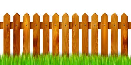 Houten hek en gras - geïsoleerd op een witte achtergrond. Vector illustratie. Vector Illustratie