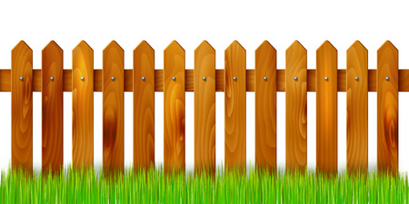 Wooden fence and grass - isolated on white background. Vector illustration. Vettoriali