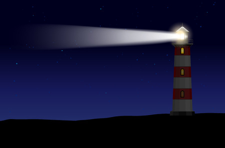 lighthouse beam: Lighthouse with light beam against night starry sky - vector illustration
