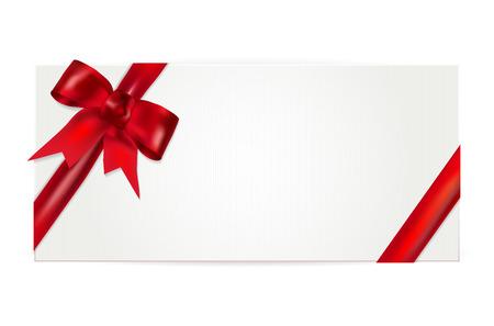 Cheque regalo con lazo rojo Foto de archivo - 45347381