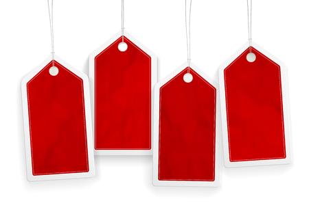 etiqueta: Conjunto de cuatro etiquetas de papel rojas de precios con lugar para el texto - ilustraci�n vectorial