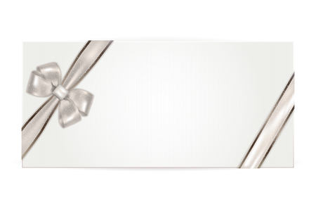 gift ribbon: Gift voucher with silver bow - isolated on white. Vector illustration. Illustration